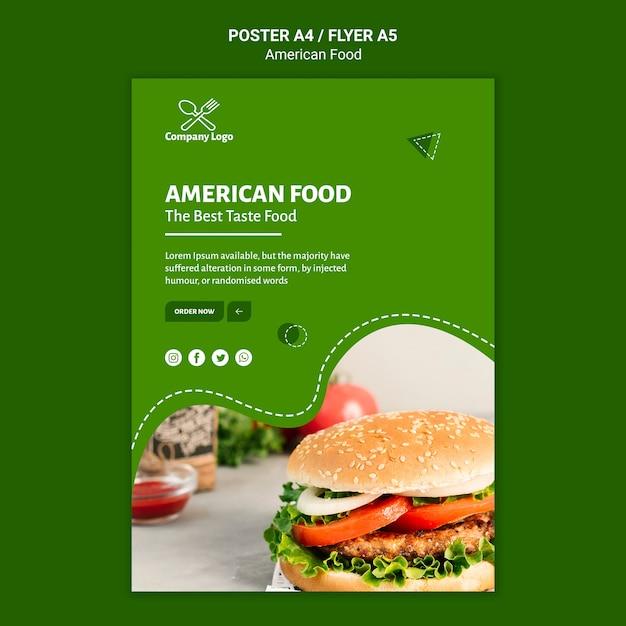 アメリカ料理のポスターデザイン 無料 Psd
