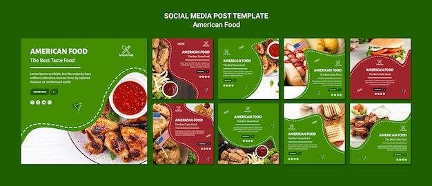 Социальные медиа публикуют американскую еду Бесплатные Psd