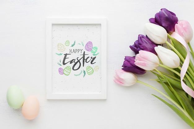 イースターのメッセージと卵の横にあるフレーム 無料 Psd