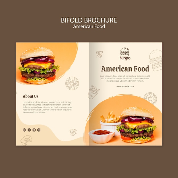アメリカ料理パンフレットカードテンプレート 無料 Psd
