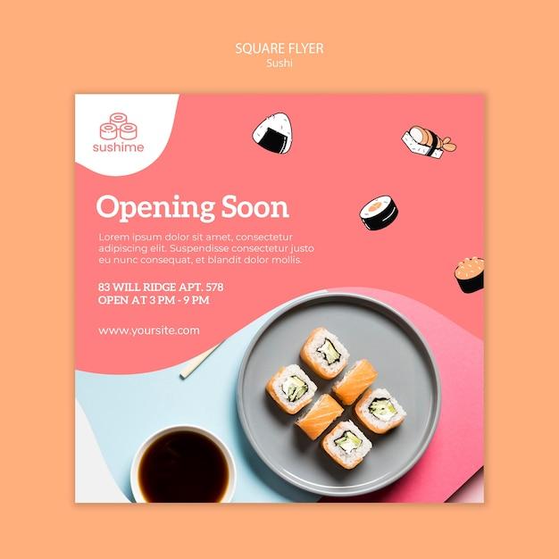 寿司レストランスクエアチラシを近日オープン 無料 Psd