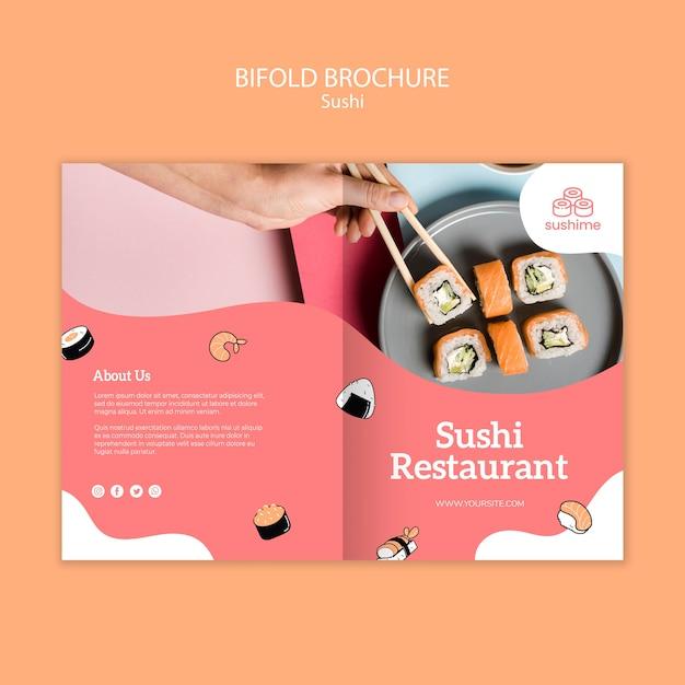 寿司レストラン二つ折りパンフレット 無料 Psd