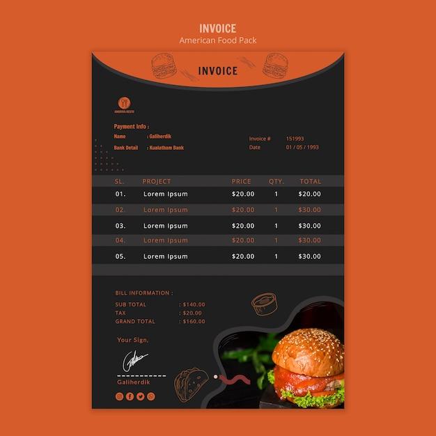Шаблон счета с американской едой Бесплатные Psd
