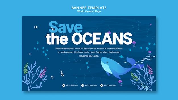 Шаблон баннера с концепцией всемирного дня океана Бесплатные Psd