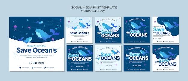 Шаблон сообщения в социальных сетях с днем мирового океана Бесплатные Psd
