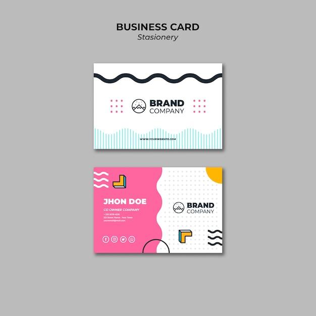 Шаблон презентации визитной карточки дизайн мемфис Бесплатные Psd