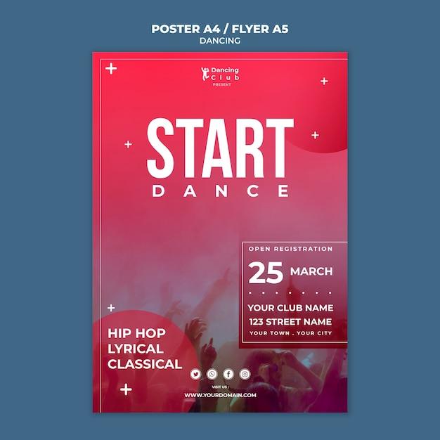 Шаблон плаката красочный танец Бесплатные Psd