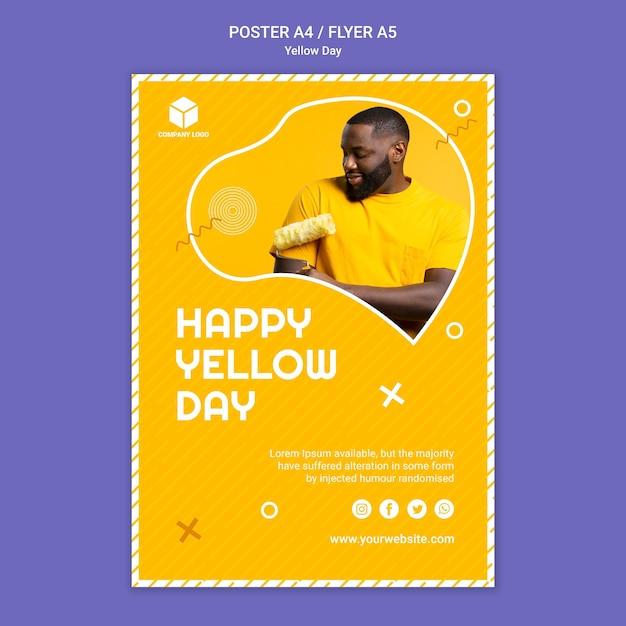 黄色の日ポスターテンプレート 無料 Psd