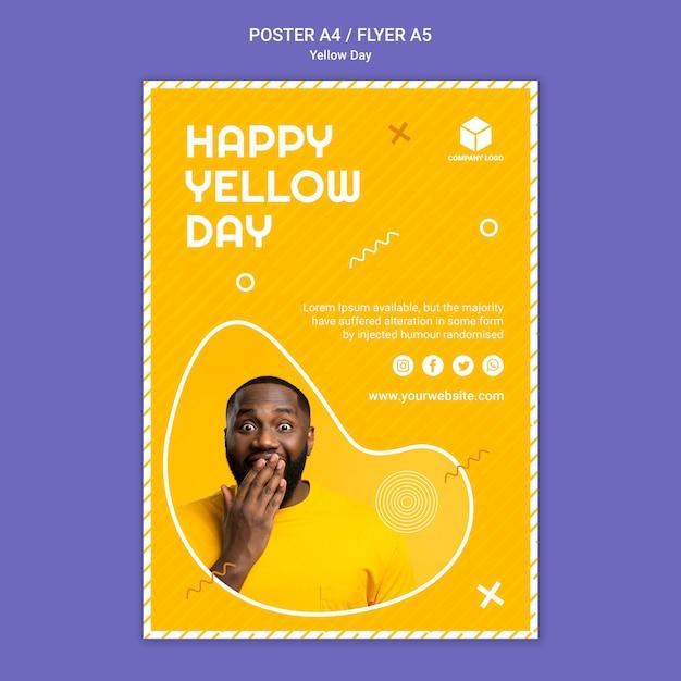 黄色の日ポスター 無料 Psd