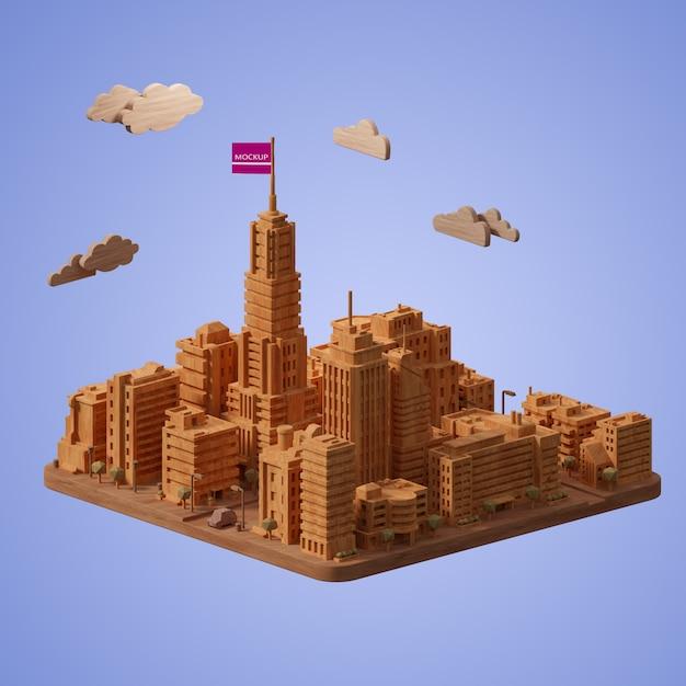 Макет модели здания города Бесплатные Psd