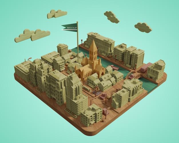 Модель зданий города день мира Бесплатные Psd
