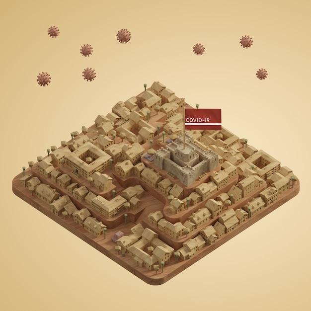 Коронавирусная модель городской застройки Бесплатные Psd