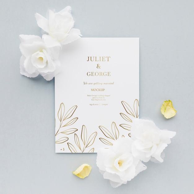 花の結婚式の招待状 無料 Psd