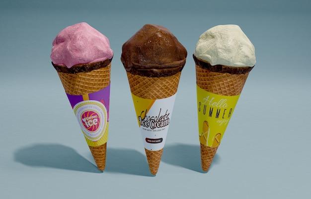 Вид спереди три мороженого с разными вкусами Бесплатные Psd