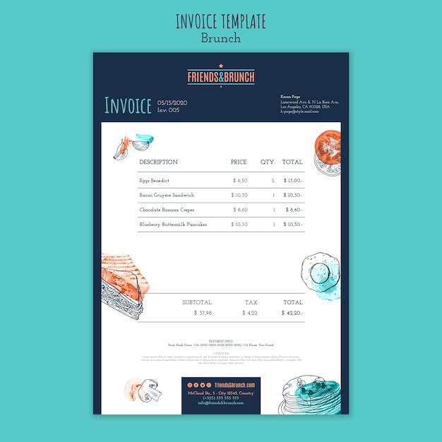 ブランチレストランの請求書テンプレート 無料 Psd