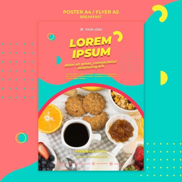 ブラックコーヒーと朝食のポスターテンプレート 無料 Psd