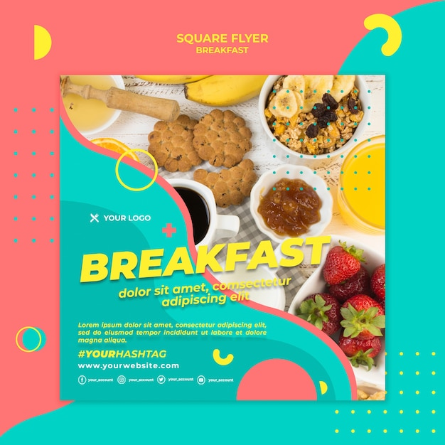 トップビューの朝食スクエアチラシテンプレート 無料 Psd