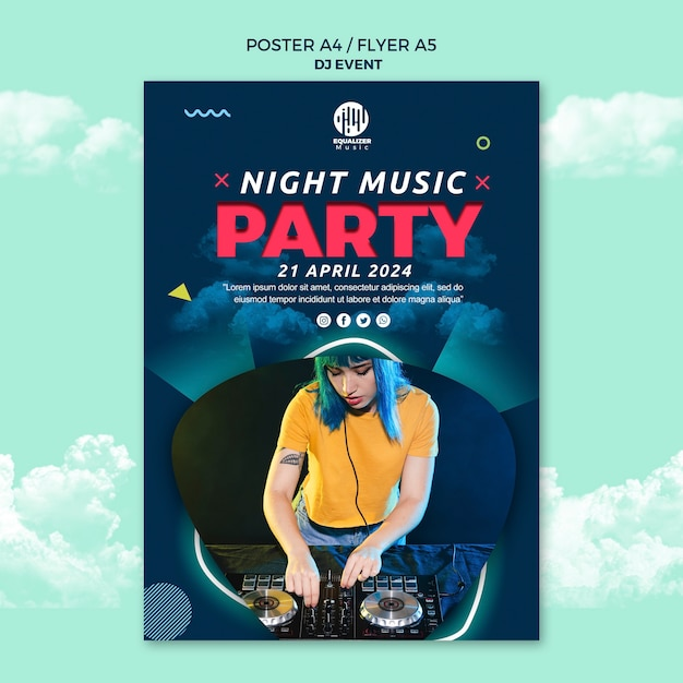 Музыкальная вечеринка концепция плакат флаер шаблон Бесплатные Psd
