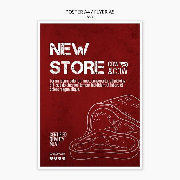 バーベキューデザインのポスターテンプレート 無料 Psd