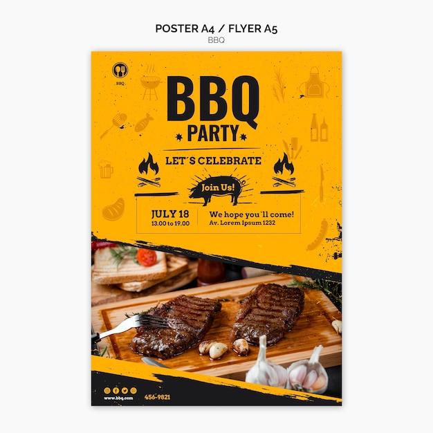 Шаблон флаера для вечеринки с барбекю Бесплатные Psd