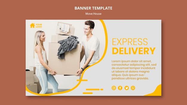 Горизонтальный баннер для компании по переезду Бесплатные Psd