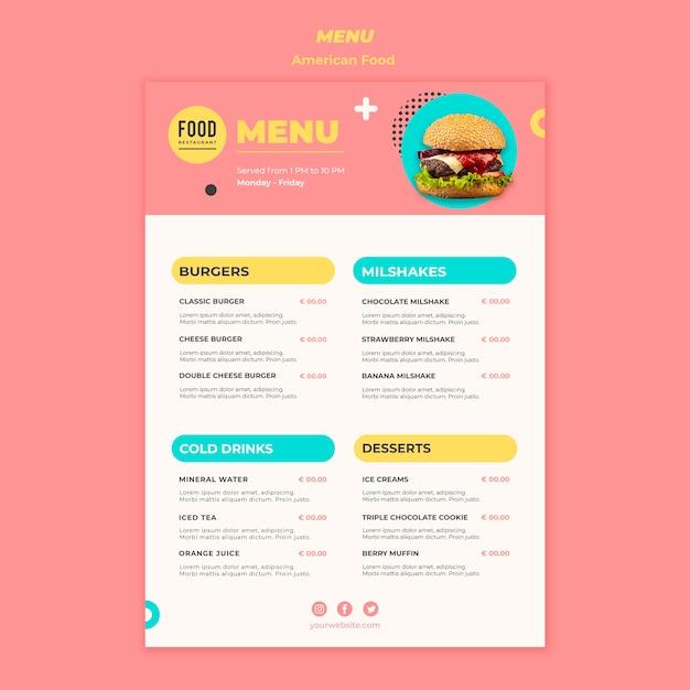 ハンバーガーとアメリカ料理のメニュー 無料 Psd