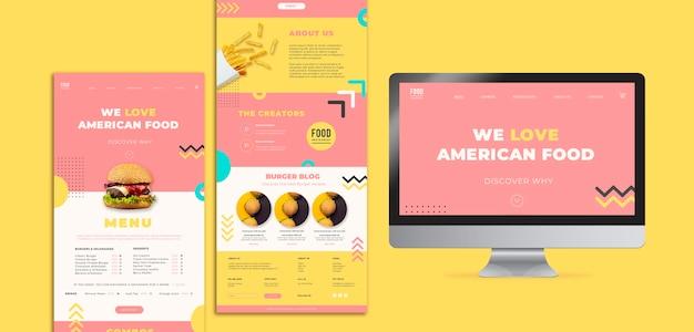 Веб-шаблон для американской еды с гамбургером Бесплатные Psd