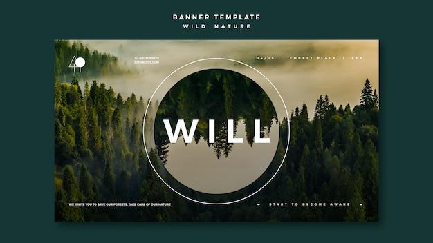 Баннер для дикой природы с лесом Бесплатные Psd