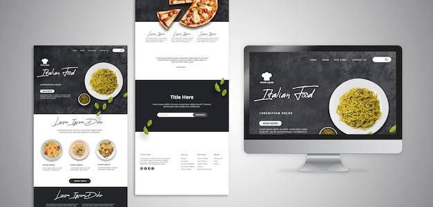 Веб-шаблон с целевой страницей для ресторана традиционной итальянской кухни Бесплатные Psd