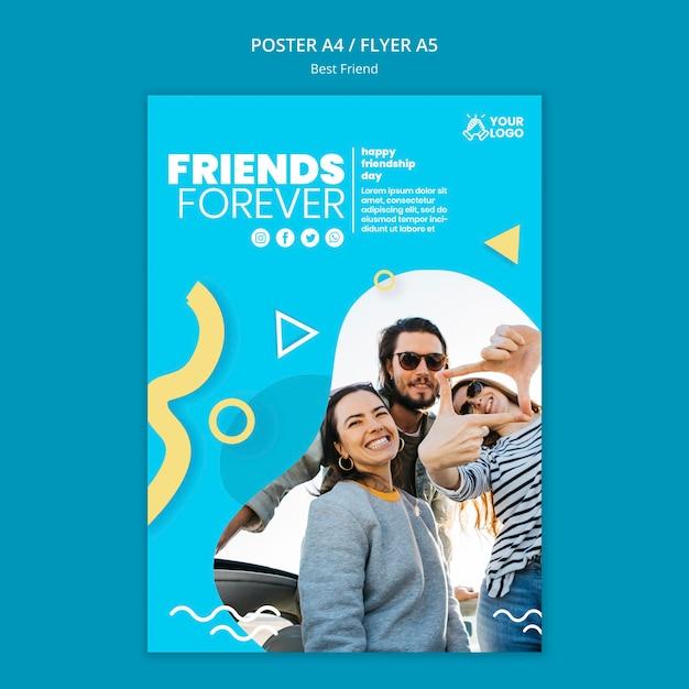 Дизайн плаката лучших друзей Бесплатные Psd
