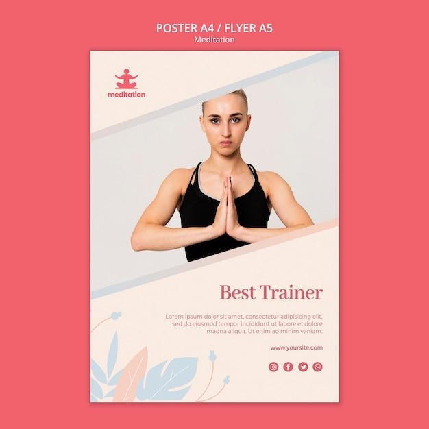 Шаблон плаката для занятий медитацией Бесплатные Psd
