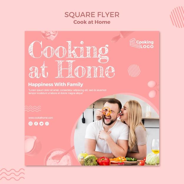 自宅で料理とチラシテンプレート 無料 Psd