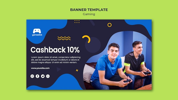 Шаблон горизонтального баннера для видеоигры Бесплатные Psd