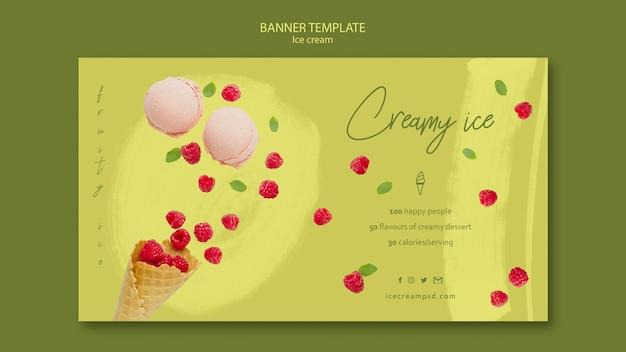 Шаблон баннера мороженого с фото Бесплатные Psd