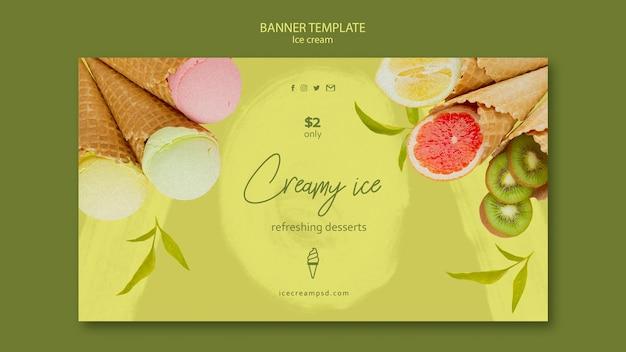Шаблон горизонтального баннера мороженого с фото Бесплатные Psd