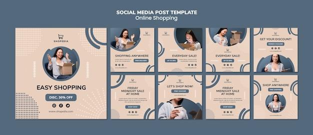 Шаблон поста в социальных сетях с онлайн покупками Бесплатные Psd