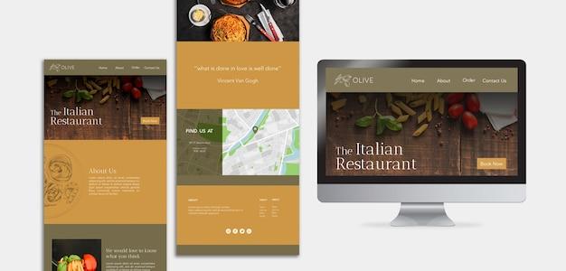 イタリア料理のランディングページテンプレート 無料 Psd