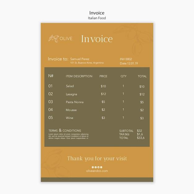 イタリア料理の請求書テンプレート 無料 Psd
