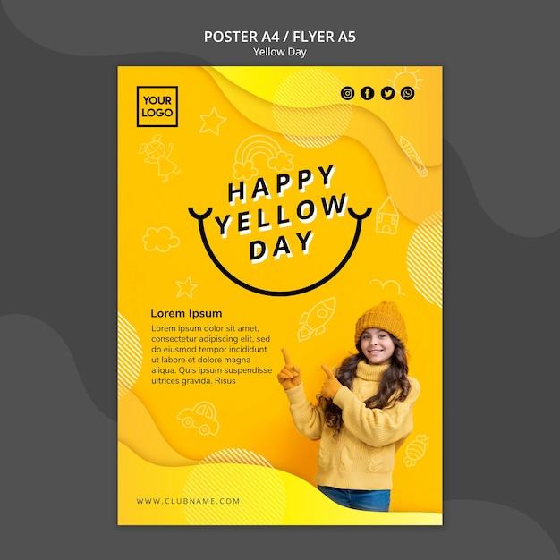 黄色の日コンセプトポスターテンプレート 無料 Psd