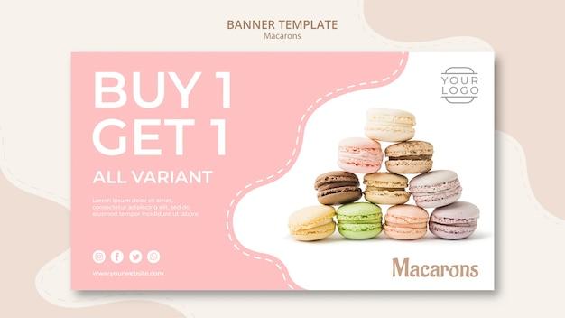 Разноцветные французские макаруны купи один получи один баннер Бесплатные Psd
