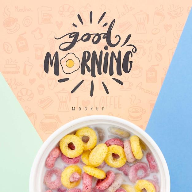 Зерновые с молоком и доброе утро сообщение макет Бесплатные Psd