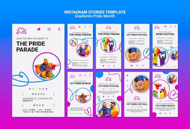 Пакет историй из инстаграм для гордости лгбт Бесплатные Psd