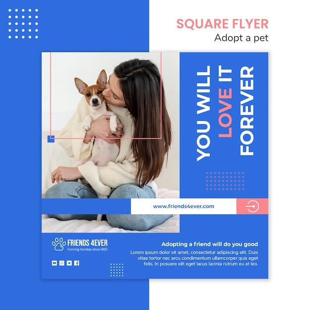 Квадратный шаблон флаера для принятия питомца с собакой Бесплатные Psd
