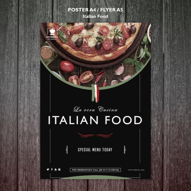 Итальянская еда постер Бесплатные Psd
