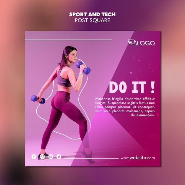 Спортивный и технический пост дизайн шаблона Бесплатные Psd