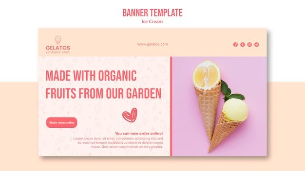 Шаблон баннера со вкусом мороженого Бесплатные Psd