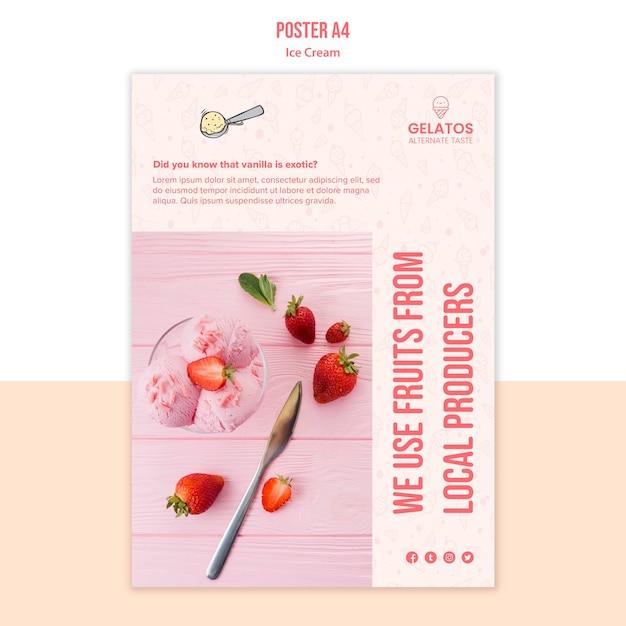 Шаблон плаката с клубничным мороженым Бесплатные Psd