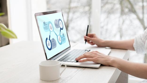 Фрилансер работает на ноутбуке с макетом Бесплатные Psd