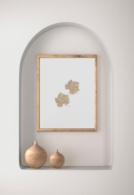 Рамочный декор с листьями и вазами Бесплатные Psd