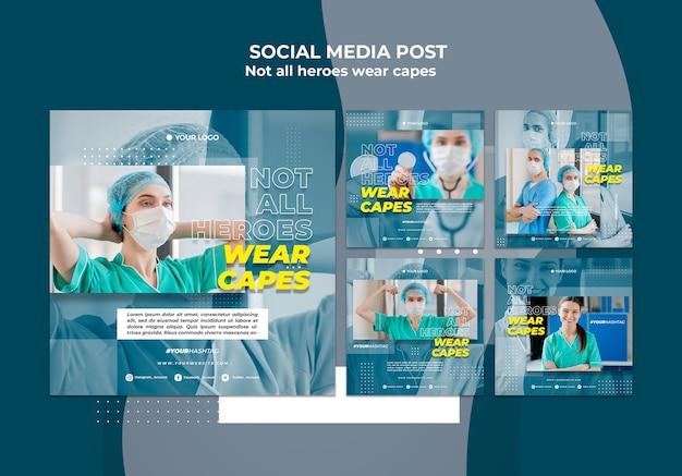 病院のソーシャルメディアでの医師の投稿テンプレート 無料 Psd
